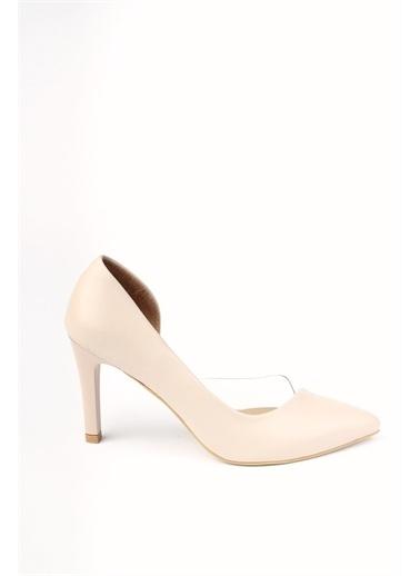 Modabuymus Modabuymus Kadın   Yanı Açık Şeffaf Stiletto Topuklu Ayakkabı - Lotus Ten